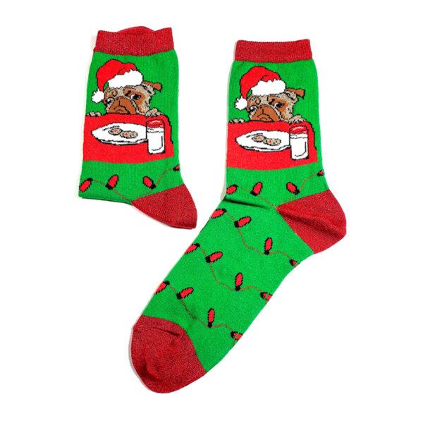 Дамски коледни чорапи с френски булдог