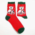 Дамски коледни чорапи с бяла мечка