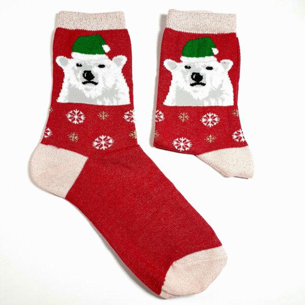 Дамски коледни чорапи с бяла мечка с шапка