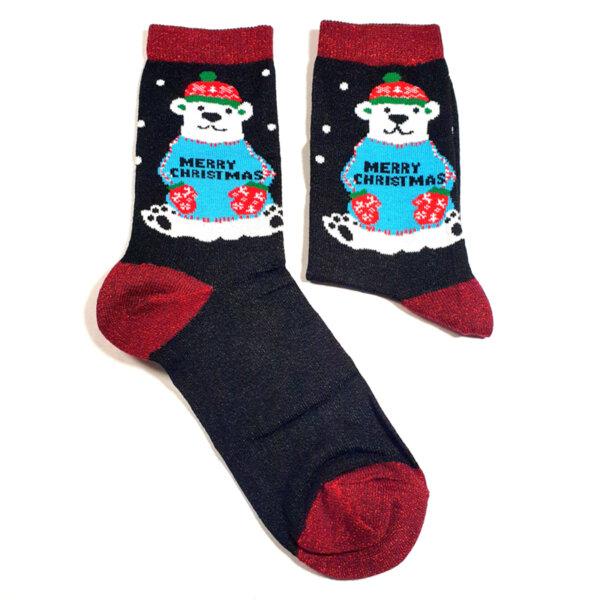 Дамски коледни чорапи с мечка