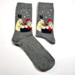 Мъжки коледни чорапи Рудолф и Дядо Коледа