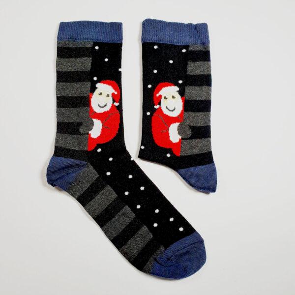 Мъжки коледни чорапи с надничащ Дядо Коледа