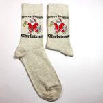 Коледни мъжки чорапи с Дядо Коледа сив