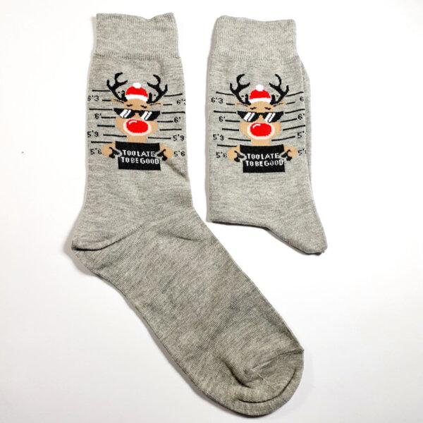 Коледни мъжки чорапи Too late to be good