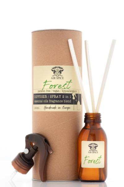 Дифузер с пръчици + Спрей 2 в 1  - Горски аромат