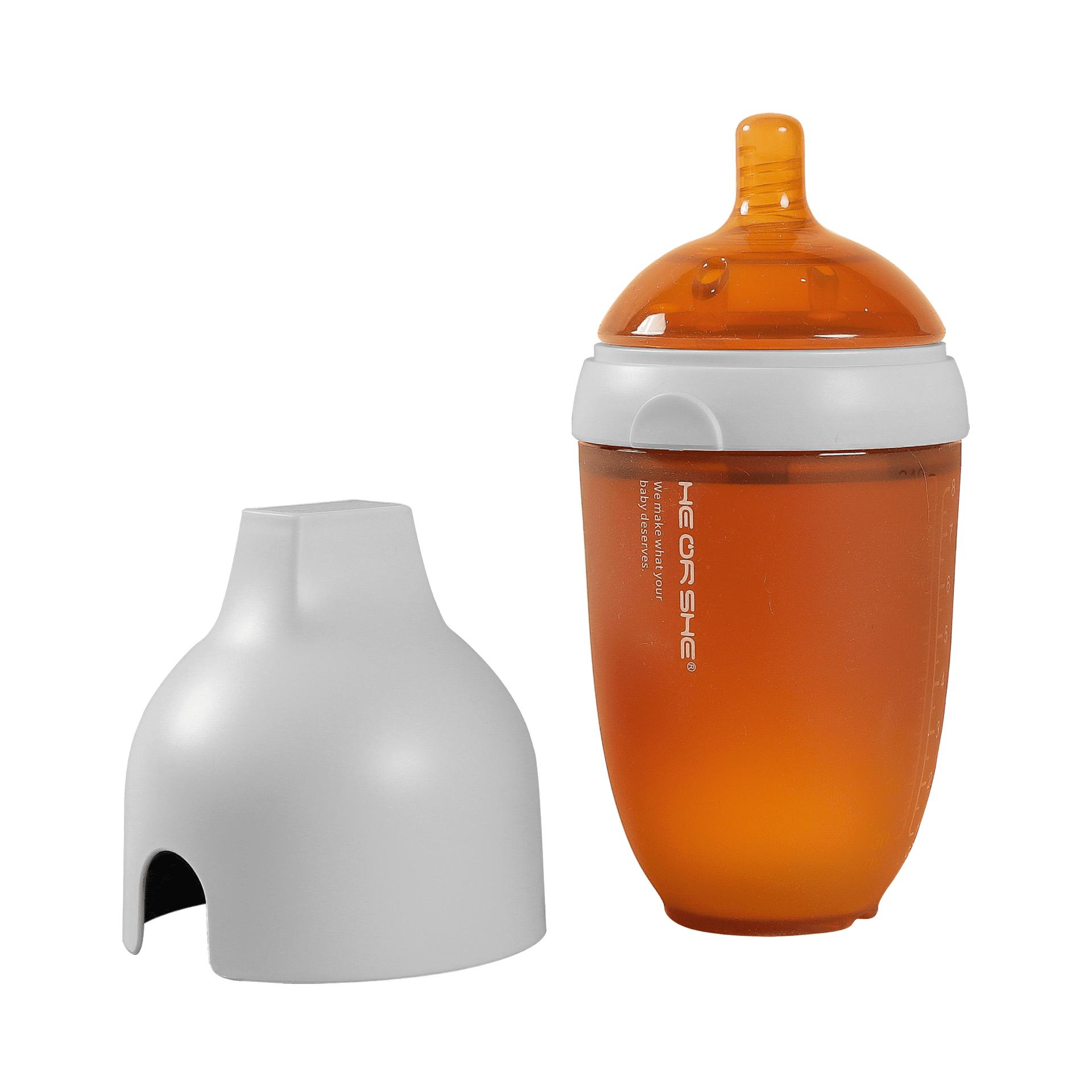 Бебешка бутилка He or She 240мл.- 6+ месеца - сива