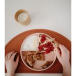 Mushie Силиконова чинийка с отделения - розова