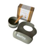 Силиконов комплект за хранене Bubutoys - сив