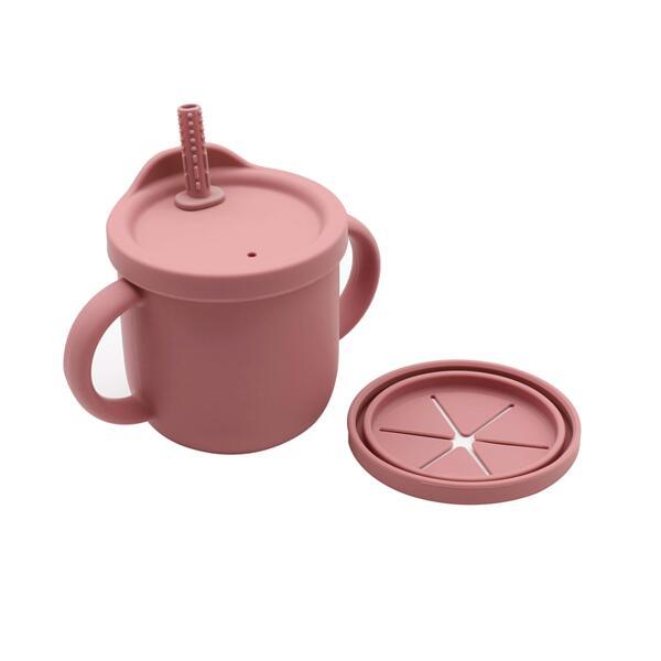 """Силиконова """"snack cup"""" 2в1 чаша, розова"""