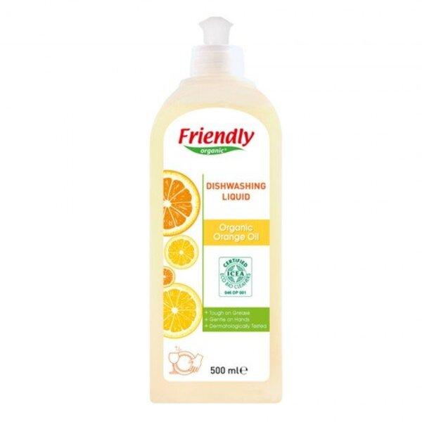 FRIENDLY ORGANIC Препарат за измиване на съдове с портокалово масло, 500мл