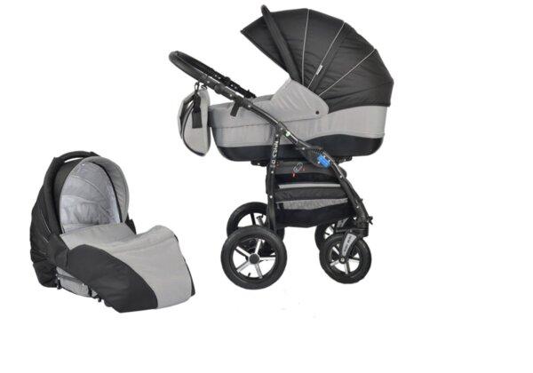 Детска количка Baby Merc 2 в 1 модел ZIPY черна със сиво