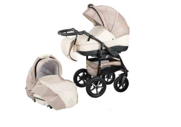 Детска количка Baby Merc 2 в 1 модел ZIPY кремава и капучино