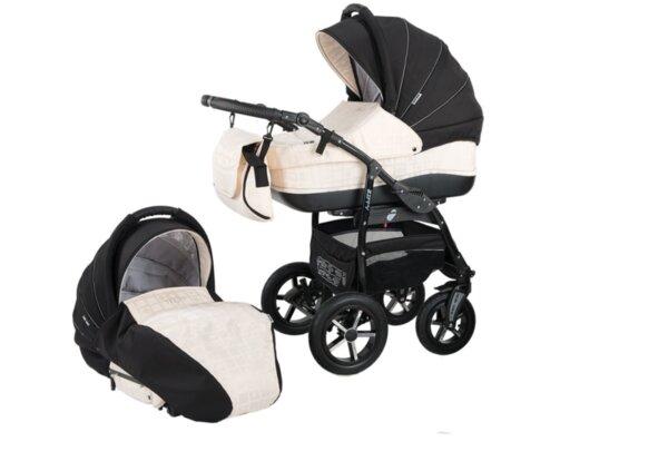 Детска количка Baby Merc 2 в 1 модел ZIPY черна с бяло