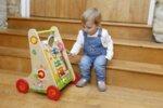 Детски дървен Уокър - проходилка с игри за бебета