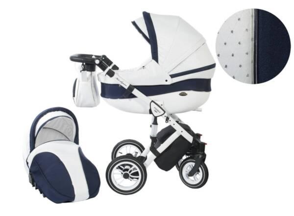 Количка Baby Merc 2 в 1 модел Style бяла с тъмно синьо
