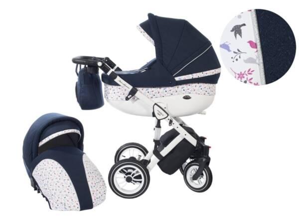 Количка Baby Merc 2 в 1 модел Style тъмносиня с бяло