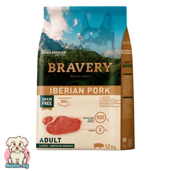 Bravery Adult Grainfree с Иберийско Свинско за порастнали кучета от средни и големи породи 12кг