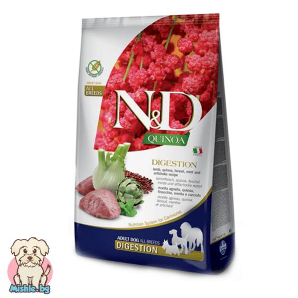 N&D Quinoa Adult Digestion с Агнешко за порастнали кучета от всички породи 7кг