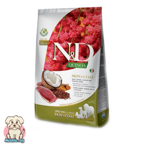 N&D Quinoa Adult Skin&Coat с Патешко за порастнали кучета от всички породи 7кг