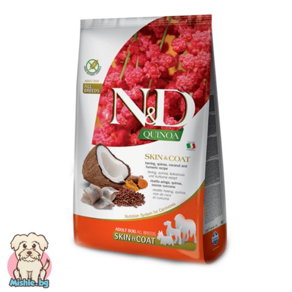 N&D Quinoa Adult Skin&Coat с Херинга за порастнали кучета от всички породи 7кг