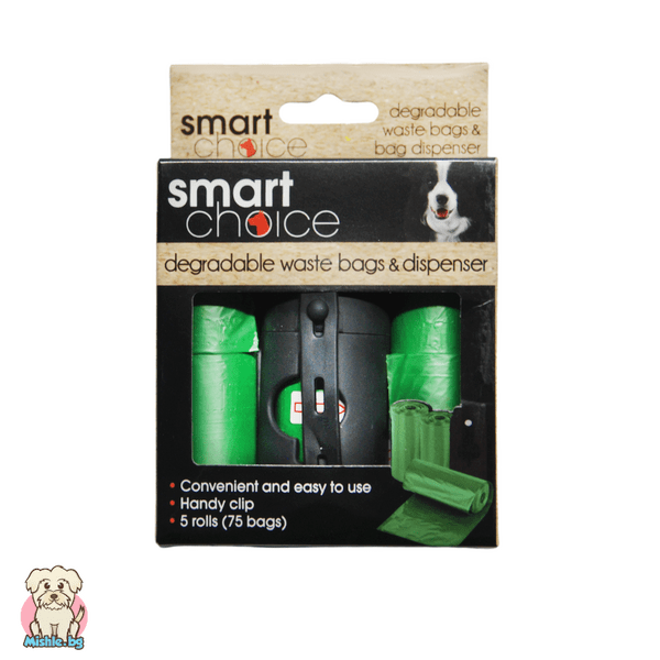 Диспенсър за хигиенни торбички с 5 биоразградими ролки Smart Choice