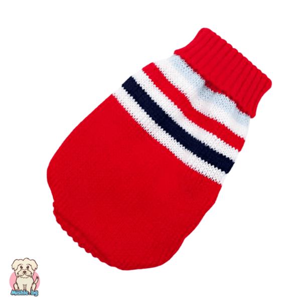 Мек и топъл плетен пуловер за куче и коте в червено