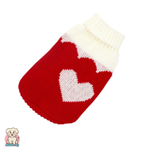 Мек и топъл плетен пуловер за куче и коте със сърчице