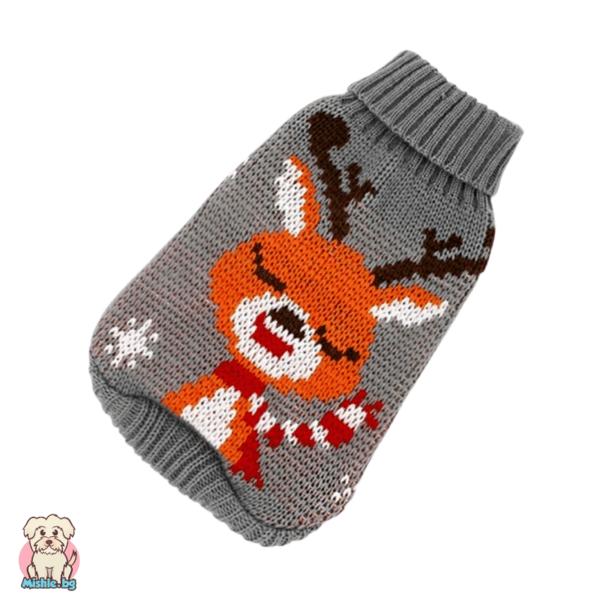 Плетен пуловер за куче и коте с еленче