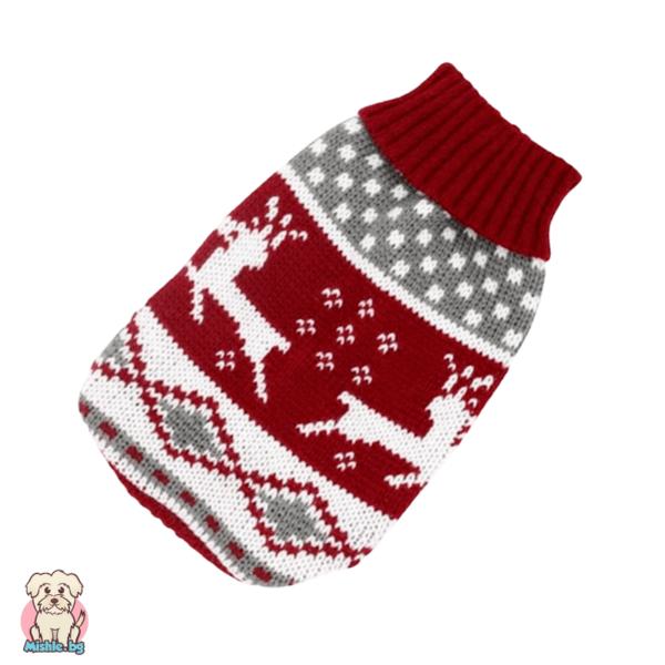 Плетен пуловер за куче и коте червен с елени