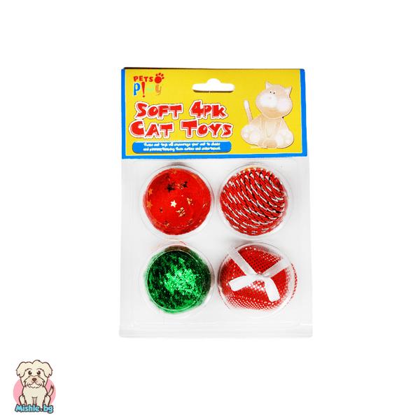 Коледен комплект от 4 топки за коте Pets Play