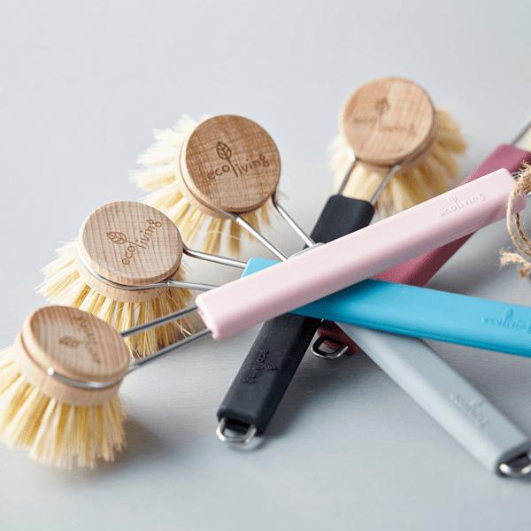 Четка за миене на съдове със сменяема глава и силиконова дръжка - 4 цвята