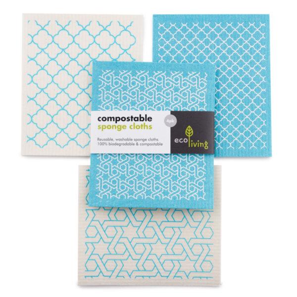 Комплект компостируеми гъби за почистване и попиване (х4) - Moroccan