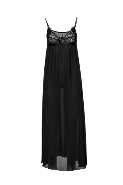 Long nightdress черна с дантела