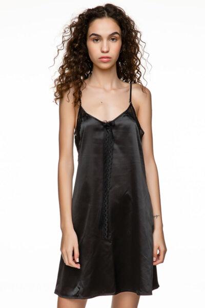 Slip dress черна сатен с панделка