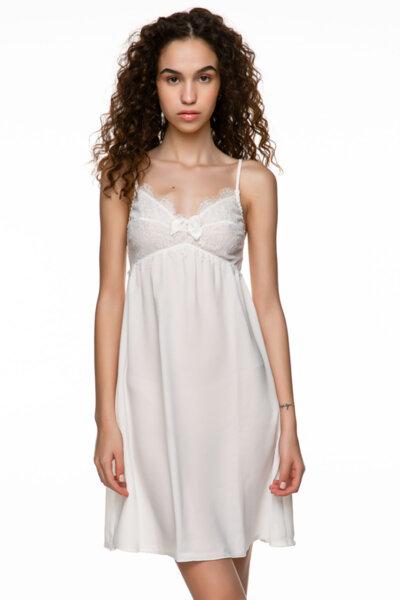 Slip dress бяла с дантела