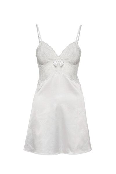 Slip dress бяла сатен с ластична дантела