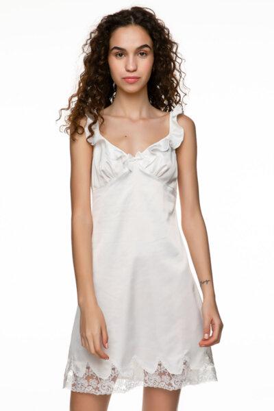 Slip dress бяла сатен с бродерия