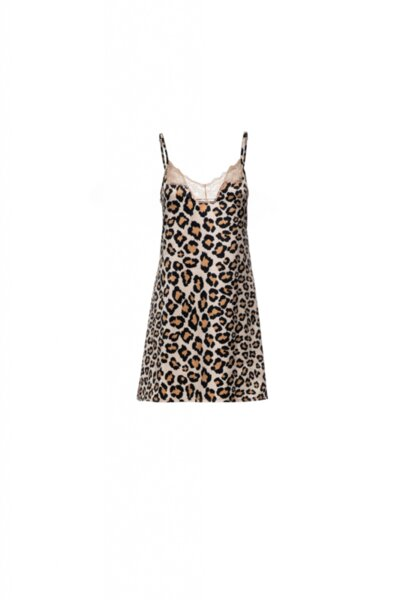 Slip Dress сатен принт леопард с дантела