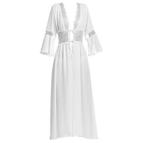 Long robe бяла с дантела