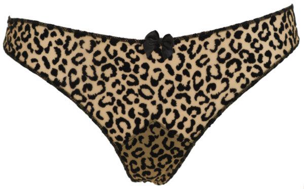 Бикини String тюл цвят телесен и черно принт леопард