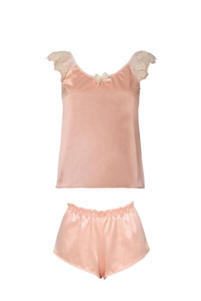 Baby doll в две части пастелно розово сатен с дантела!