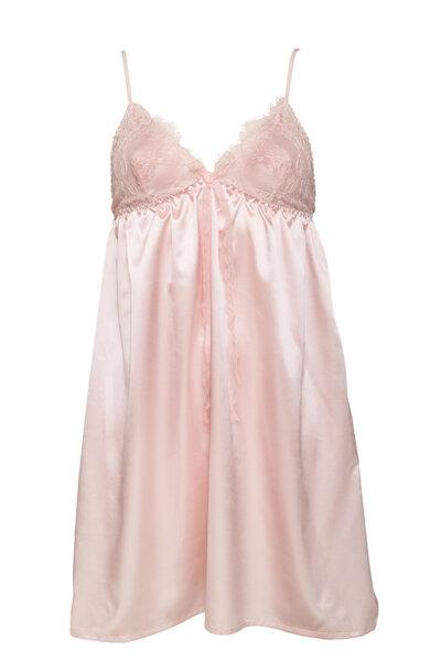 Loungewear пастелно розово сатен с бродерия chantilly