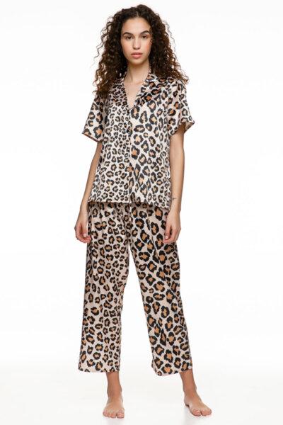 Satin pyjama с копчета принт леопард