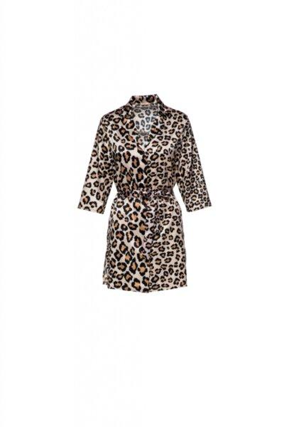 Satin robe принт леопард с колан