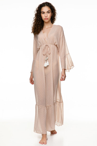 Long Dress цвят телесен outwear