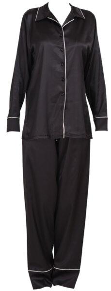 Пижама сатен черна с бял кант