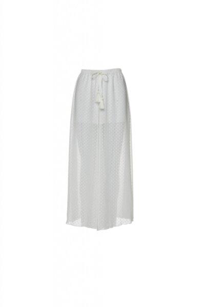 Дълъг бял панталон фина материя с къса подплата