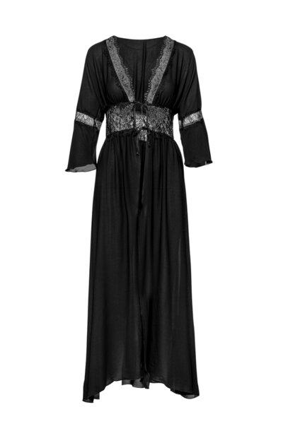 Long robe черна с дантела