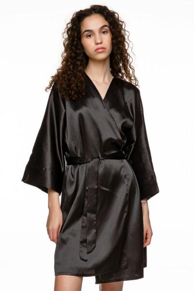 Черно кимоно сатен с колан