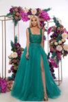 Дълга рокля корсет с бродирана дантела и мъниста